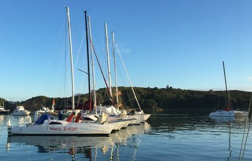 multihull raft-up in Mahurangi, New Zealand