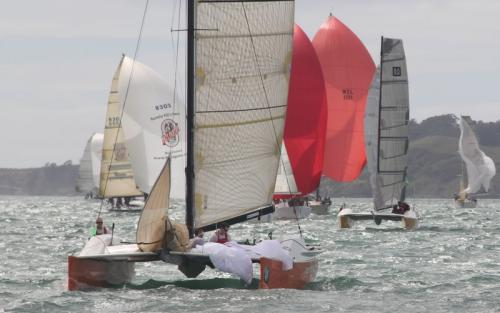 catamaran dousing gennaker at finish