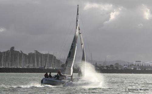spray over catamaran
