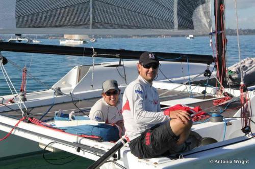 crew on catamaran